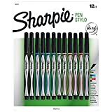 Sharpie(R) Fine-Point Pens, Fine Point, 0.3 mm, Black/Silver Barrels, Assorted Ink Colors, Pack Of 12