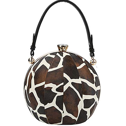 Round Sphere Satchel Color Block Leopard Giraffe Print Beach Ball Purses Patent Bags with Shoulder Straps (Giraffe Black)