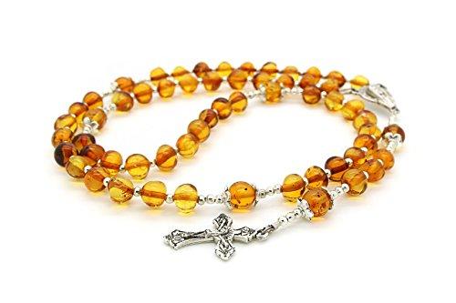 - Genuine Baltic Amber Catholic Prayer Rosary with Crucifix Cross
