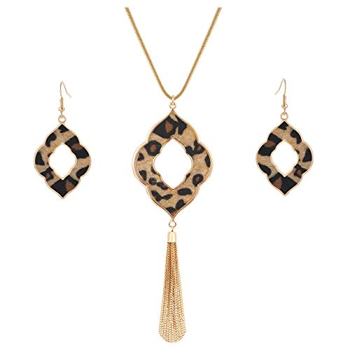 SHAMARTE Long Necklace for Women Leopard Print Necklace Cheetah Leather Drop Dangle Earrings Set Geometric Pendant Necklace Fringe Tassel Necklace Y Chain Necklace