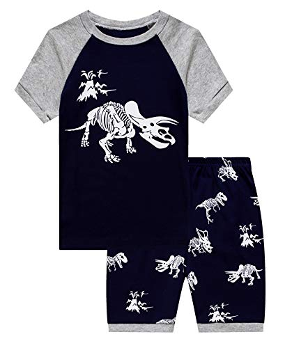 KikizYe Dinosaur Boys Shorts 2 Piece Pajama Set 100% Cotton Blue 3T ()