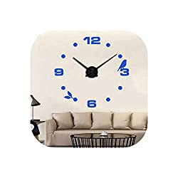 Wall Clock 2019 Black Cat Bird Quartz Wall Clocks Home Decor Orologio Muro Factory Modern DIY Livingroom Creative Watch Wall,Blue,47Inch