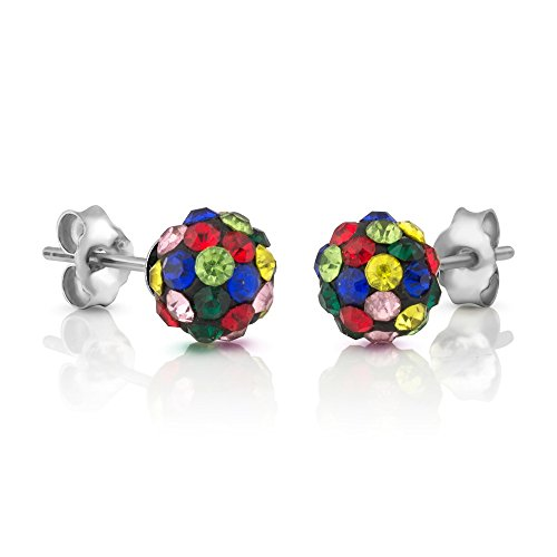 925 Sterling Silver Multi Colored Swarovski Crystal Rhinestone Disco Ball 7 mm Post Stud ()