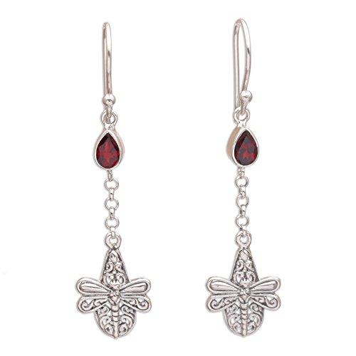 Garnet Dragonfly Ring - NOVICA Garnet .925 Sterling Silver Dangle Earrings 'Dragonfly Altar'