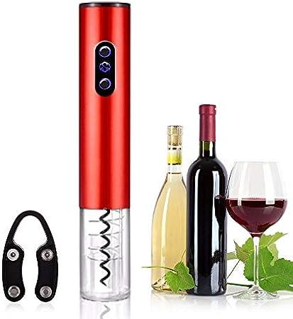 keyuan Sacacorchos Electrico, Abridor de Vino Electrico Profesional BateríA Alimentado con Cortador de CáPsulas para Vino/ChampáN/Sidra/Espumante, Etc (Rojo)