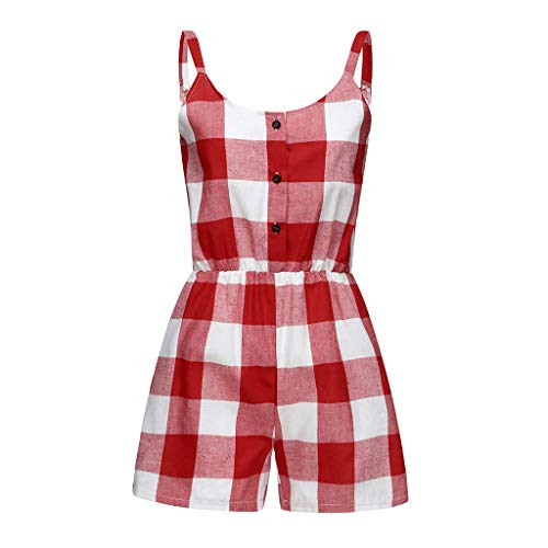 SiQing Mother and Daughter Red Plaid Print Jumpsuit Romper Family Matching Clothes Baby Outfit (S, Mom)