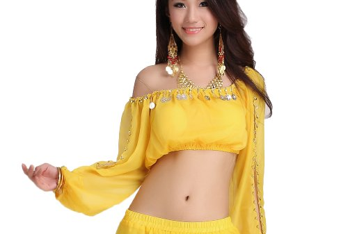 Yellow Belly Dance Costume - ZLTdream Lady's Belly Dance Long Sleeves Chiffon Top Yellow