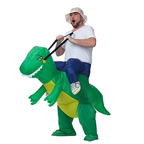 Divertido inflable animal dinosaurio fiesta cosplay Blowup disfraz adulto verde -