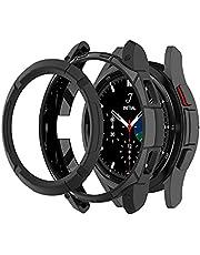 Chofit Ochraniacz kompatybilny z Samsung Galaxy Watch 4 Classic 42 mm 46 mm etui, TPU etui ochronne z pętlą pierścieniową przylepna osłona do Galaxy Watch4 klasyczny smartwatch (46 mm, czarny)