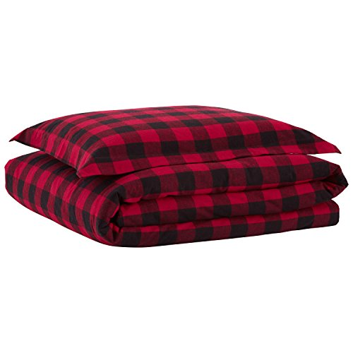 Stone & Beam Rustic Buffalo Check Soft and Breathable Flannel Yarn-Dyed Duvet Set, Twin, Red and Black