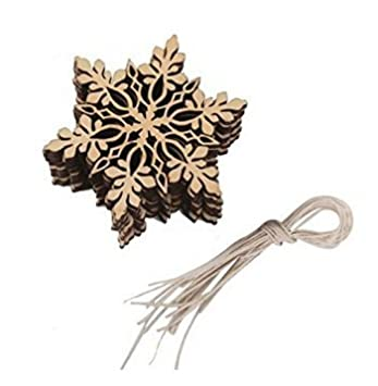 10pcs arbre de No?l embellissements en bois artisanat ornement de sapin de No?l suspendu avec corde de suspension