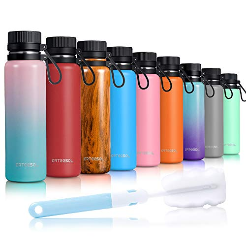arteesol Stainless Steel Water Bottle 17/25/34oz Vacuum Insulated Leakproof Double-Walled Wide Mouth Design Eco Friendly & BPA Free Outdoor Sports Gym Workout Hiking Camp&Office (Gradient 1, 25oz) (Best Vacuum Bottle Reviews)