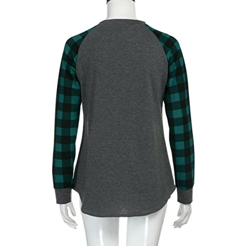 Pullover Elegant Mode Tops Coton Tunika Chemise Manche longue Femmes Col Shirt Blouse Reaso Chemise Sweat Slim Vert shirt Tunique Vintage Rond Carreaux Casual xYZwFIgnq