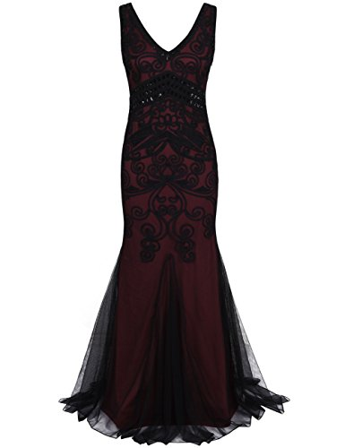 PrettyGuide Women 1920s Gatsby Gown Long Mermaid Formal Evening Dress M Burgundy