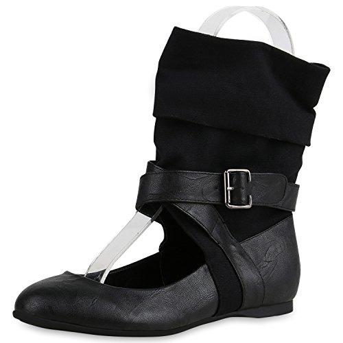 napoli-fashion - Bailarinas Mujer Schwarz Stoff