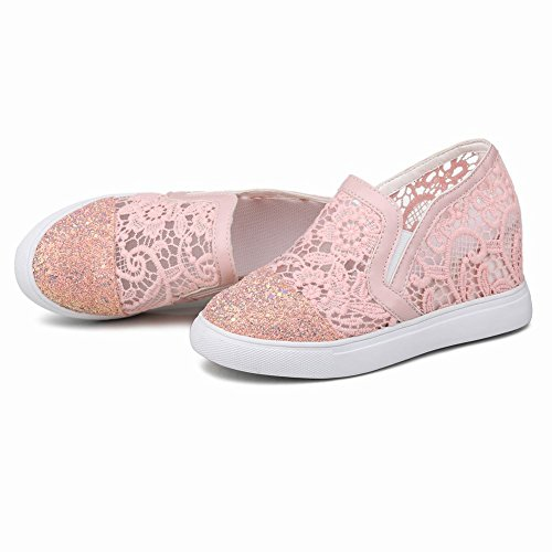 Show Shine Womens Casual Slide Platform Wedge Heel Loafers Shoes Pink Vl6SGZ2