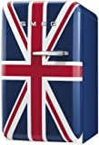 Smeg FAB5ULUJ 16'' 50's Retro Style Series Compact Refrigerator with 1.5 cu. ft. Capacity Absorption Cooling Automatic Defrost and LED Interior Lighting in Union Jack Color with Left