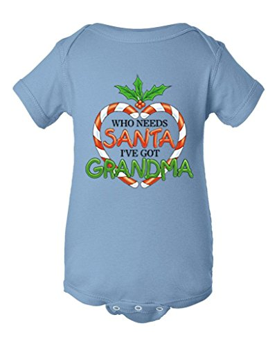 Shop4Ever Who Needs Santa I've Got Grandma Baby Bodysuit Christmas Infant Unisex Romper_18 M_Light Blue (Naughty Santa Helper Outfits)
