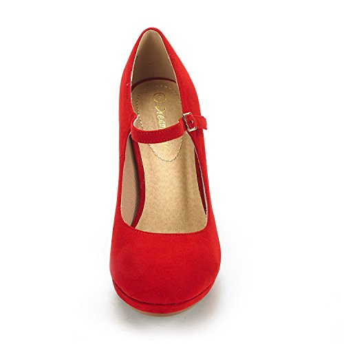 Shoes Red Lilica Pump Dream Pairs jane Women's Platform Stilleto Mary Suede Toe Close Heel WcTPc