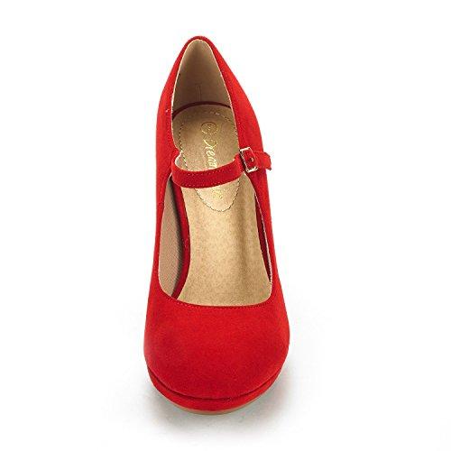 Shoes Red Lilica Pump Dream Pairs jane Women's Platform Stilleto Mary Suede Toe Close Heel WcTPc