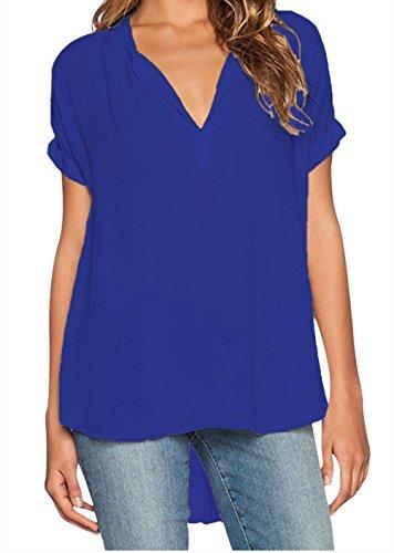 YFFaye Women's V Neck Short Sleeve Oversize Chiffon Blouse Blue