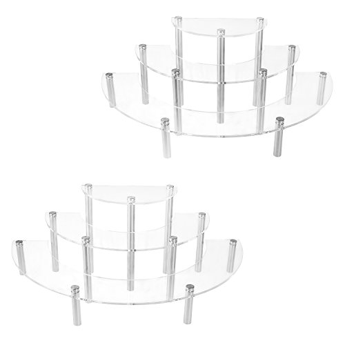 MyGift 3-Tier Clear Acrylic Semicircle Round Cupcake Dessert Display Stand, Set of 2