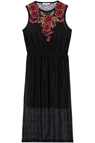 Black FIND Donna Pizzo di Vestito Multicolore Midi nRq46Y