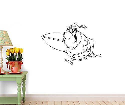 People - Outlined Cartoon Santa Surfer Peel and Stick Fabric Wall Sticker by Wallmonkeys Wall Decals