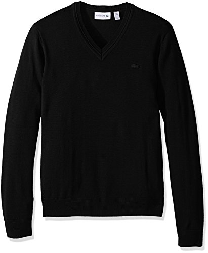 Lacoste Men's 100% Lambswool V Neck Sweater with Tonal Croc, Black, Small ()