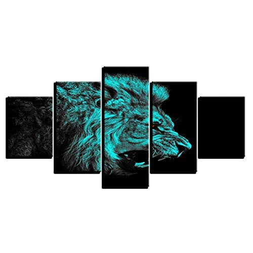 el precio más bajo Frame 20x35 20x45 20x55cm BAIF 5 Piezas Lienzo de Pintura Pintura Pintura HD d Cuadros Marco Lienzo Arte de la Parojo para la Sala de EEstrella 5 Unidades verde Brillante Animal león decoración del hogar Pintura Cochetel  venta al por mayor barato