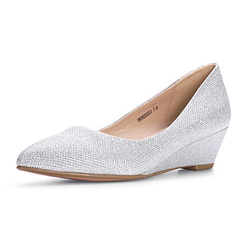 IDIFU Women's IN2 Wedge-LO Classic Low Heel Wedge Pump Closed Pointed Toe Slip on Office Work Shoes (6.5 M US, Silver Glitter) (Slip Closed Footwear Ons Toe)