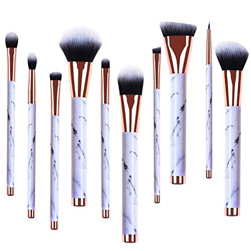 Makeup Brushes Set, 10pcs Professional Marble Makeup Brushes with Blush Foundation Highliter Brush, Eeyshadow Concealer Eyeliner Lip Brush, Face Travel Make Up Brushes Cosmetic Tool