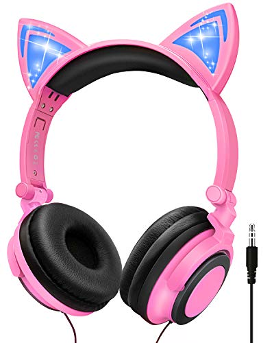 Cat Ear Headphone, LED Light Up Foldable Wired with Adjustable Headband, 85db Over/On Foldable Ear Game Headset Toddlers Travel Birthday(Pink)