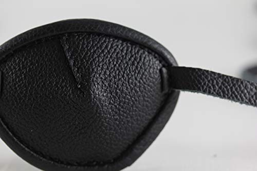 Leather Eyepatch. Slight Convex Eye Patch (Right Eye, Full Size Black) by Desantis Leather Goods (Image #5)