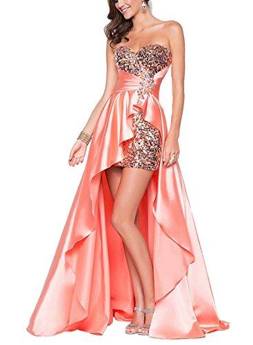 Cocktailkleid langen Bandeau Rosa mit im Abendkleid vorderen Kleid Festlich Kleid Sexy Pailletten ärmellos Kurz Partykleid Brautjungfer Damen an7Bxq8