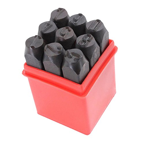 Baoblaze 3mm/4mm/5mm/6mm/10mm/12.5mm Stamps Letters Alphabet Numbers Set Punch Steel Metal Tool Craft - Number 12.5mm ()