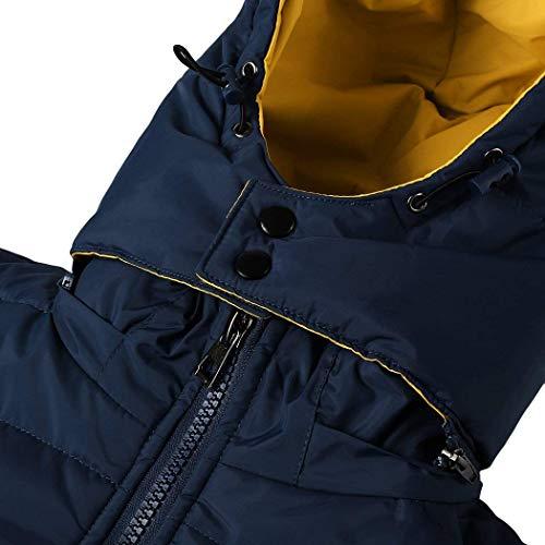Uomo Taglie Invernale Slim Cerniera Comode Abiti Coat Con Capispalla Cappuccio Fit Manica Blau Da Giacca Lunga Trapuntata txAwqq4