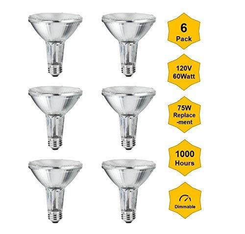 6Pack Par30-Long-Neck-120V-60W (High Output, Flood, 75W Equivalent) Halogen Bulbs