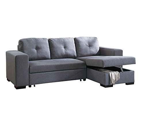 Advanced Modern Blue Grey Convertible Linen-Like Fabric Reversible Sectional Sofa Set with Pull-Out Bed by Advanced Furniture
