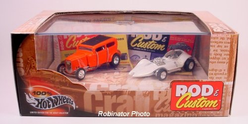 Dean Jefferies' MANTA RAY & Bob Tindle's ORANGE CRATE * Limited Edition * Hot Wheels 2002 ROD & CUSTOM MAGAZINE 1:64 Scale 2-Car Box Set (Classic Chevy Old Trucks)