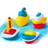 Gizmovine Bath Boat Toys, Pool Water Toys Submarine Toddler Toy Floating Boats, Baby Bathtub Toys Set for Toddler Kid Boy Girls 4PCS
