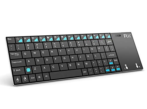 Rii K12BT Ultra Slim Portable Mini Wireless Bluetooth Keyboard with Large Size Touchpad Mouse,Stainless Steel Back Cover for PC,Surface Pro 2,3,Android iOS Tablet PC/Galaxy Tabs,Smart TV Box,Windows