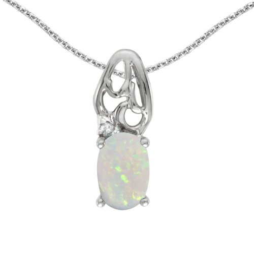 - Jewels By Lux 14k White Gold Genuine Birthstone Oval Opal And Diamond Pendant (1/5 Cttw.)
