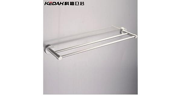 SYDLJ Toalla barringrack colgador de metal sólido de aluminio espacio doble barra toallero 60cm baño toallero: Amazon.es: Hogar