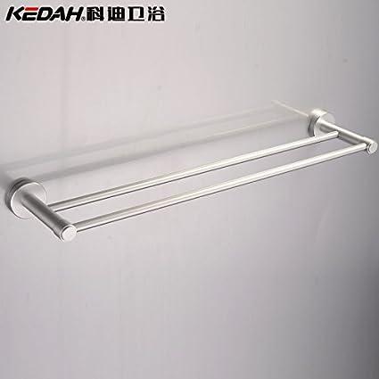 SYDLJ Toalla barringrack colgador de metal sólido de aluminio espacio doble barra toallero 60cm baño toallero