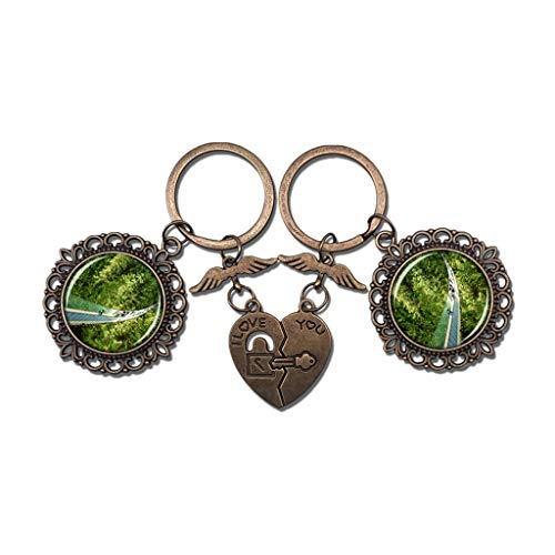 Halloween North Vancouver (Hqiyaols Keychain Canada Capilano Suspension Bridge Park North Vancouver Couple Keychain Valentine's Day Key Chain Ornaments Souvenir Collectible Round Crystal Bronze Metal)