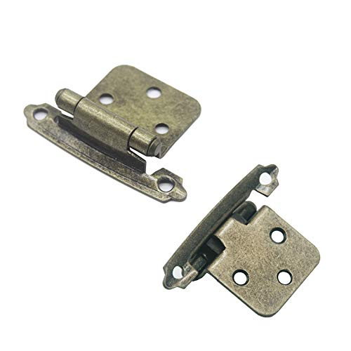MOSILVERON Overlay Cabinet Hinges, for Face Frame Overlay Cabinets, Kitchen/Bathroom, Variable, Self Closing (25 Pairs Antique Brass)