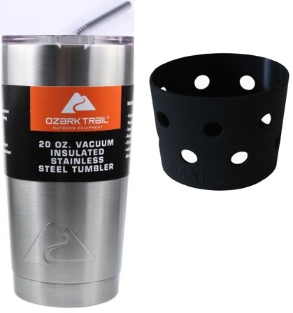 Ozark Trail 20 Ounce Stainless Steel Tumbler with DANG Grip Sleeve, Lid and 4 Straws ... (Black)