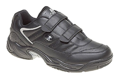 Womens Wide Fit Trainers White & Black Velcro Shoes Black Tkark