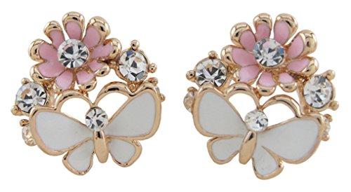 DaisyJewel Butterfly Blossoms Crystal Enamel Cluster Stud Earrings